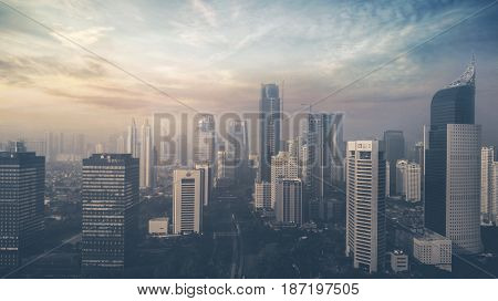JAKARTA Indonesia. May 19 2017: Aerial view of skyscrapers at sunset time on Jakarta city in Indonesia