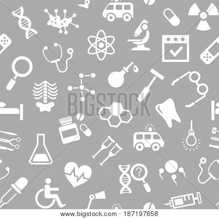 Medicine, grey background, flat, seamless, vector. Medical services specialization. The profession of doctors. Medical instruments. White, flat pictures on a gray field. Vector background.