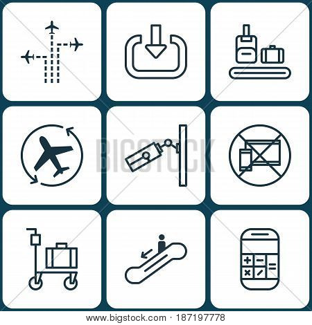 Set Of 9 Traveling Icons. Includes Flight Path, Calculation, Video Surveillance And Other Symbols. Beautiful Design Elements.