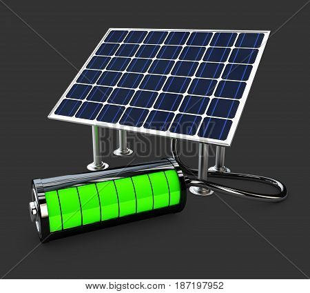 Detailed 3D Illustration Of Electric Solar Panel With Full Battery.
