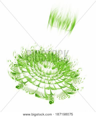 Abstract Exotic Flower With Glowing Sparkles On White Background. Fantasy Fractal Design In Light Gr