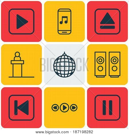 Set Of 9 Multimedia Icons. Includes Audio Mobile, Rostrum, Dance Club And Other Symbols. Beautiful Design Elements.