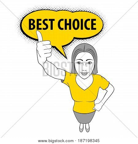 Cartoon Illustration of a Young Woman Giving a Thumbs Up. Best Choice