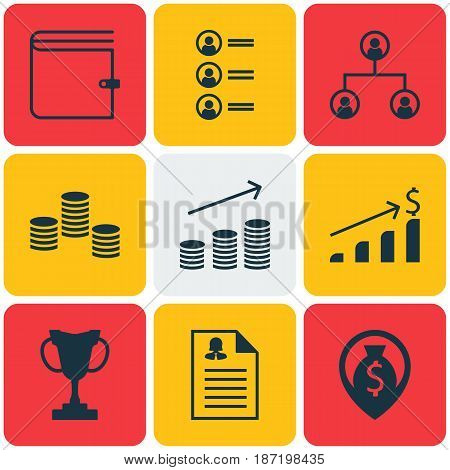 Set Of 9 Human Resources Icons. Includes Wallet, Money Navigation, Coins Growth And Other Symbols. Beautiful Design Elements.