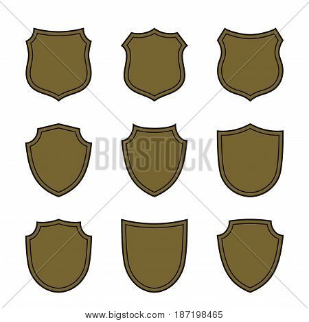 Shield Flat Icons Emblem Set