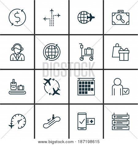 Set Of 16 Traveling Icons. Includes Shopping, Flight Path, Globetrotter And Other Symbols. Beautiful Design Elements.