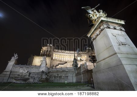 Rome, Piazza Venezia (Venice square), Altar of the Fatherland (Vittoriano), Night. National Monument to Victor Emmanuel II.