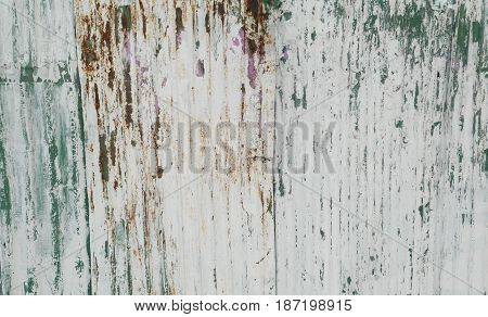 Old white zinc wall texture or old metal texture background. fence in the country house has long been used as a rusty. can be used as a background.