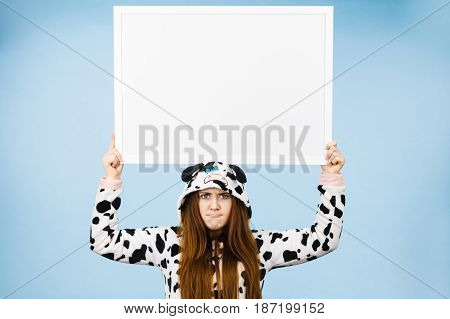 Funny Girl With Blank Empty Banner Board.