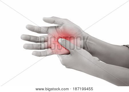 Woman holding her hand Pain concept De Quervain's tenosynovitis isolate on white background