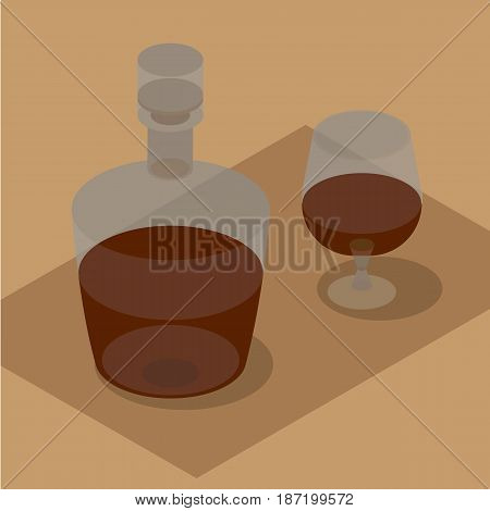 3d isometric bottle and wineglass with brandy. Still life with bottle in brown. Vector clip art.