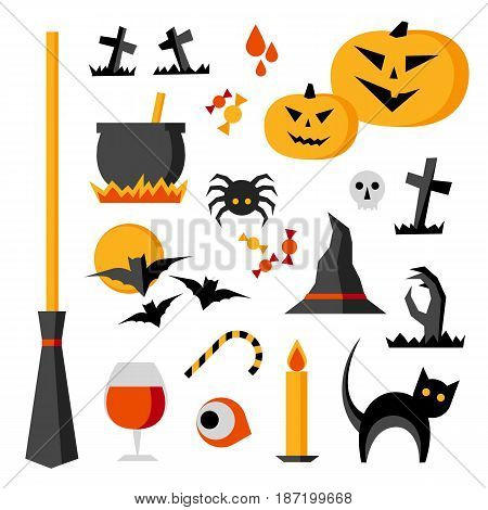Halloween vector items set:  pumpkin, bats, cat, spider, cauldron, skull. Holiday objects isolated on white background.