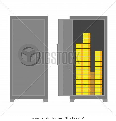 Flat vector safe - closed and open. Strongbox with money (golden coins). Simple geometric clip art.
