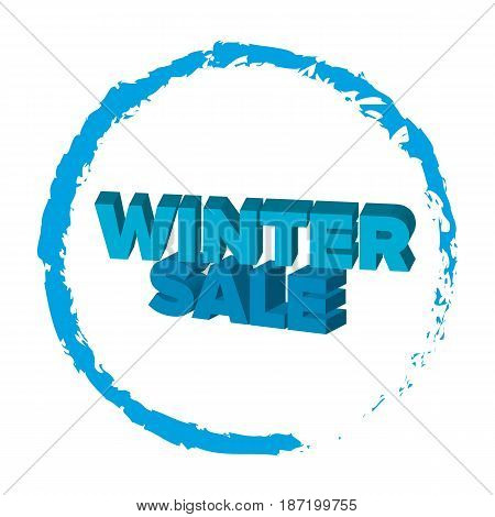 Bright blue 3d words 'Winter Sale' at white background. Discount offer. Lettering for shop, banner or flyer. Vector illustration.