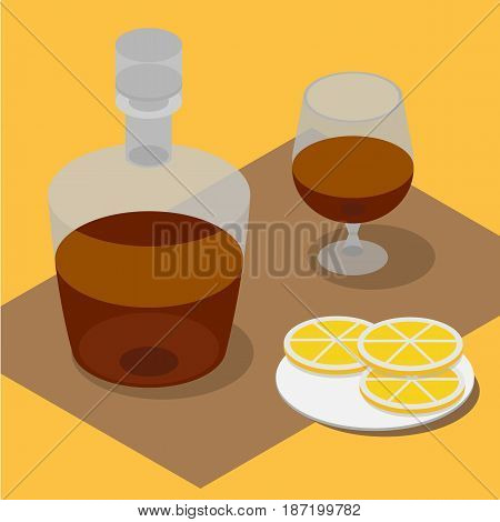 3d isometric bottle and wineglass with brandy. Alcohol drink and lemons.