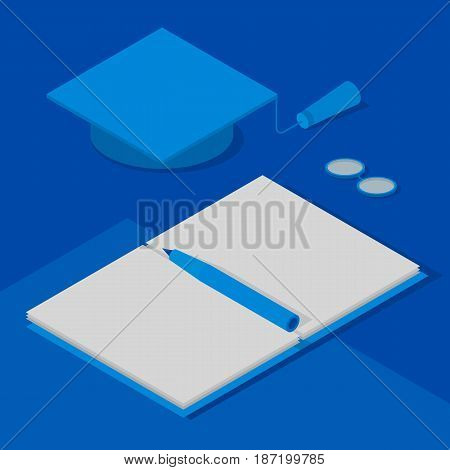 Graduation cap, open book with pen and glasses. Concept - scientific degree, success in science, study. Isometric 3D vector clip art in blue colors.