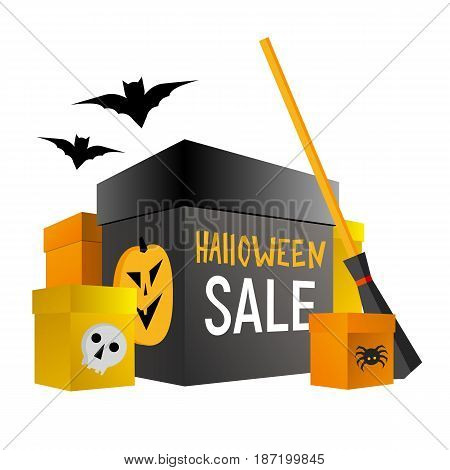 Halloween shopping. Present boxes in traditional colors with pumpkin, spider and skull. Set of holiday gifts. Bat and broom behind. Isolated on white background. Simple vector clip art with gradients.