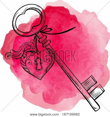 Keys icon vector illustration isolated on pink background. Key with a trinket in form of heart. This image symbolizes love. Keys for locking and unlocking heart.