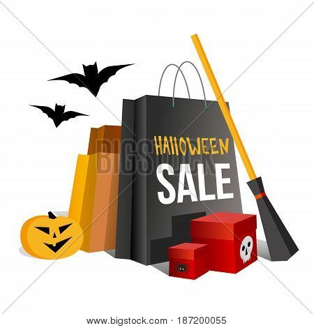 Halloween shopping. Paper bags in traditional colors and pumpkin. Boxes with spider and skull. Bat and broom near. Isolated on white background. Simple vector clip art with gradients.
