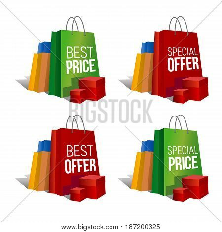 Discount signs. Set of colorful paper shopping bags and present boxes with words 'Best Price', 'Special Offer' and same. Isolated on white background. Vector clip art with gradients and shadows.