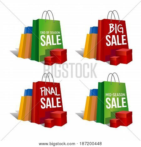 Discount signs. Set of colorful paper shopping bags and present boxes with words 'Final Sale', 'Big Sale' and same. Isolated on white background. Vector clip art with gradients and shadows.