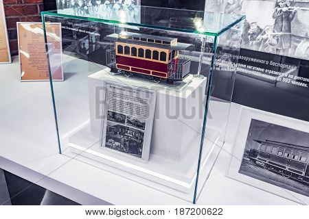 Mytischi Moscow region Russia May 16 2017: Tramway horse carriage model inside of the Metrovagonmash museum.