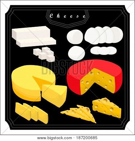 Vector illustration logo for yellow cottage cheese Parmesan Mozzarella cutting pieces sliced.Cheese Feta drawing consisting of label Roquefort.Eat fresh cheeses mozzarella parmesan feta roquefort.