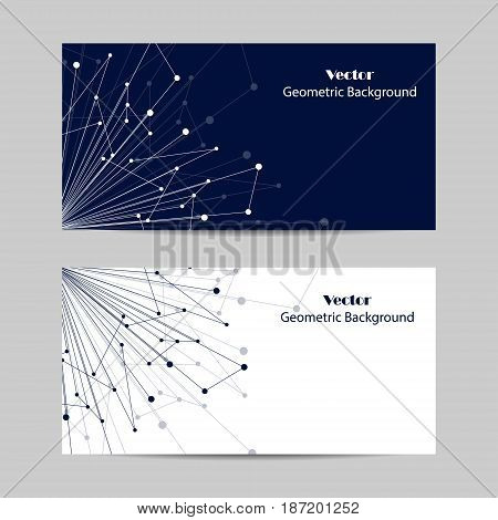 Set of horizontal banners. Geometric pattern with connected lines and dots. Vector illustration on blue and white background.
