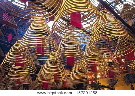 Incense burning in the Man Mo Temple the most famous Taoist temple in Hong Kong China