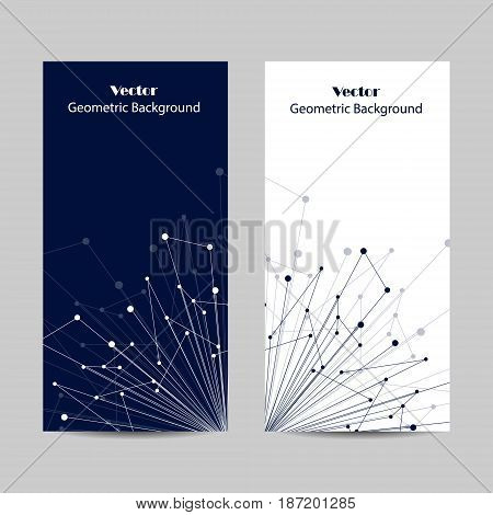 Set of vertical banners. Geometric pattern with connected lines and dots. Vector illustration on blue and white background.