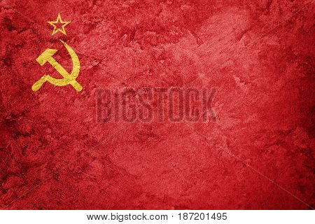 Grunge Ussr Flag. Soviet Union Flag With Grunge Texture.