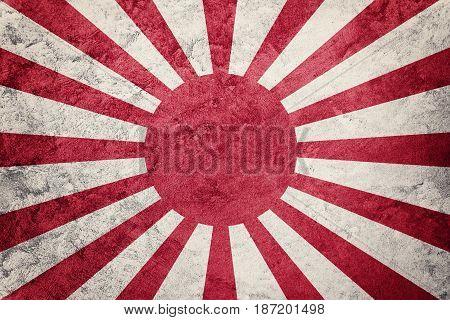 Grunge Rising Sun Japan Flag. Japan Flag With Grunge Texture.