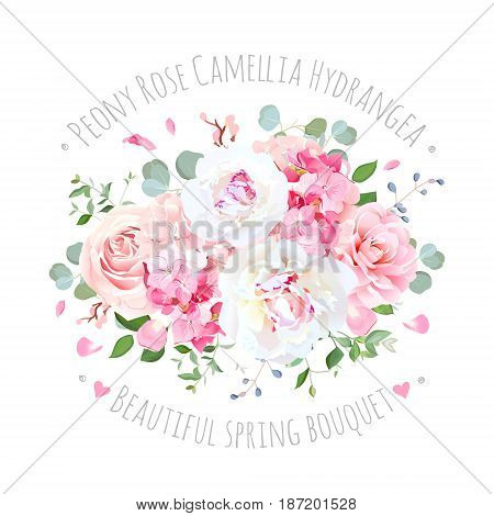 Bouquet of rose, peony, camellia, hydrangea, flying petals and eucalyptus. Elegant vector floral design. Pink and white wedding flowers and delicate leaves. All elements are isolated and editable