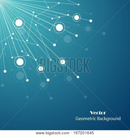 Geometric pattern with connected lines and dots. Vector illustration on blue background.