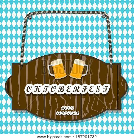Vector logo for bar banner oktoberfest pub during the festival beer mug glass with foam filled to the brim octoberfest pubs.Oktoberfest Bavarian pattern Germany flag celebration holiday oktoberfests.