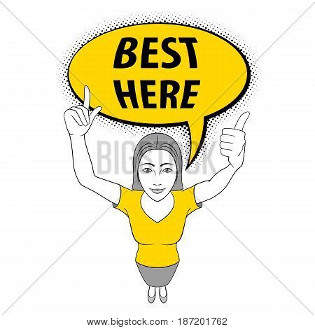 Cartoon Illustration of a Young Woman Giving a Thumbs Up. Best Here