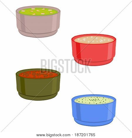 Vector illustration of logo for the ceramic bowl wide plate is filled with various homemade soups with noodles mushrooms vegetables.Soup set of four bowls plates with seasoning beetroot borsch borscht