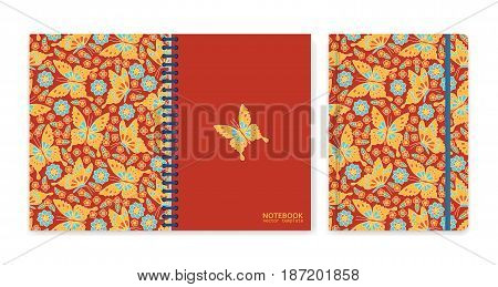 Cover design for notebooks or scrapbooks with flowers and butterflies. Vector illustration.