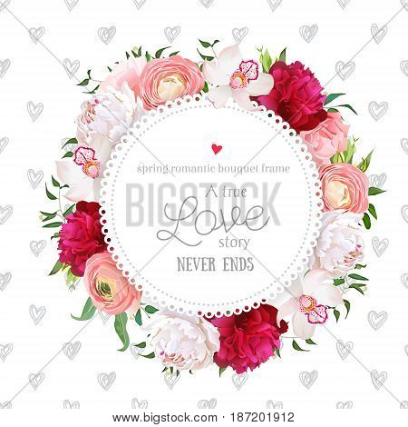 Hand drawn heart pattern with floral vector design round card. White and burgundy red peony, pink roses, ranunculus flowers, orchid, mix of green plants. All elements are isolated and editable
