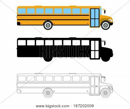Set Of Flat School Bus Icon. Cartoon, Outline, Silhouette Vector Illustration