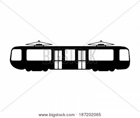 Tram Flat Icon And Logo. Silhouette Vector Illustration
