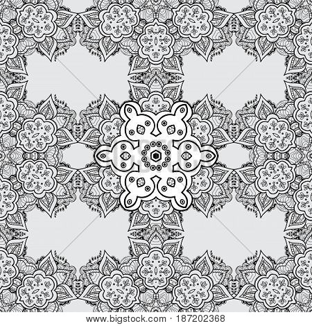 Vintage seamless pattern on a gray background with dim elements. Christmas 2018 snowflake new year.