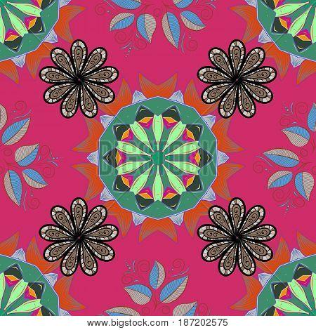 Boho style flower seamless pattern. Vector Mandala. Blue background. Tiled mandala design best for print fabric or papper and more.