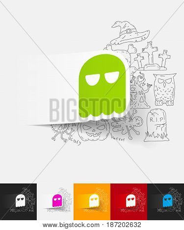 hand drawn simple elements with ghost paper sticker shadow