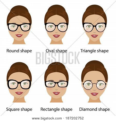 Spectacle frames shapes and different types of women face shapes. Face types as oval round triangle square diamond rectangle. Vector