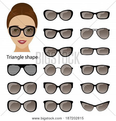 Spectacle frames shapes for triangular women face. Vector