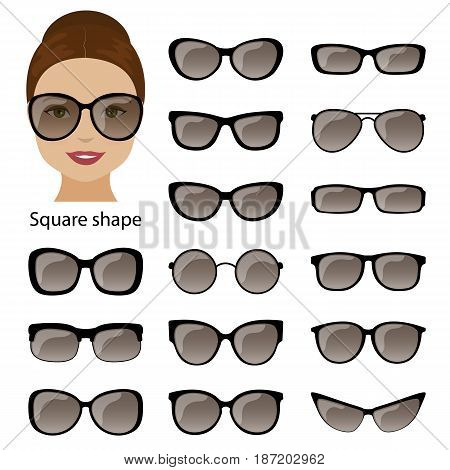 Spectacle frames shapes for square women face. Vector