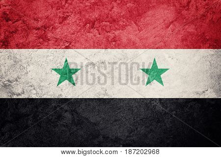 Grunge Syria Flag. Syrian Flag With Grunge Texture.
