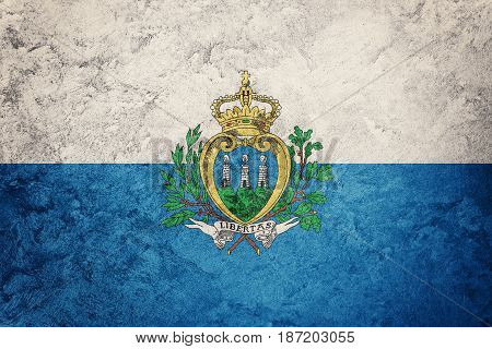 Grunge San Marino Flag. San Marino Flag With Grunge Texture.