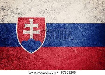 Grunge Slovak Republic Flag. Slovak Republic Flag With Grunge Texture.